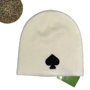Kate Spade Cream Knit Beanie with Logo NWT
